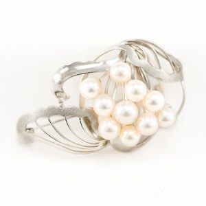 French Vintage Abstract Pearl Brooch